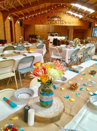 Rustic Weddings at the Historic Pines Ranch ~ Beautiful Flower arrangement in the Sun Dance Hall